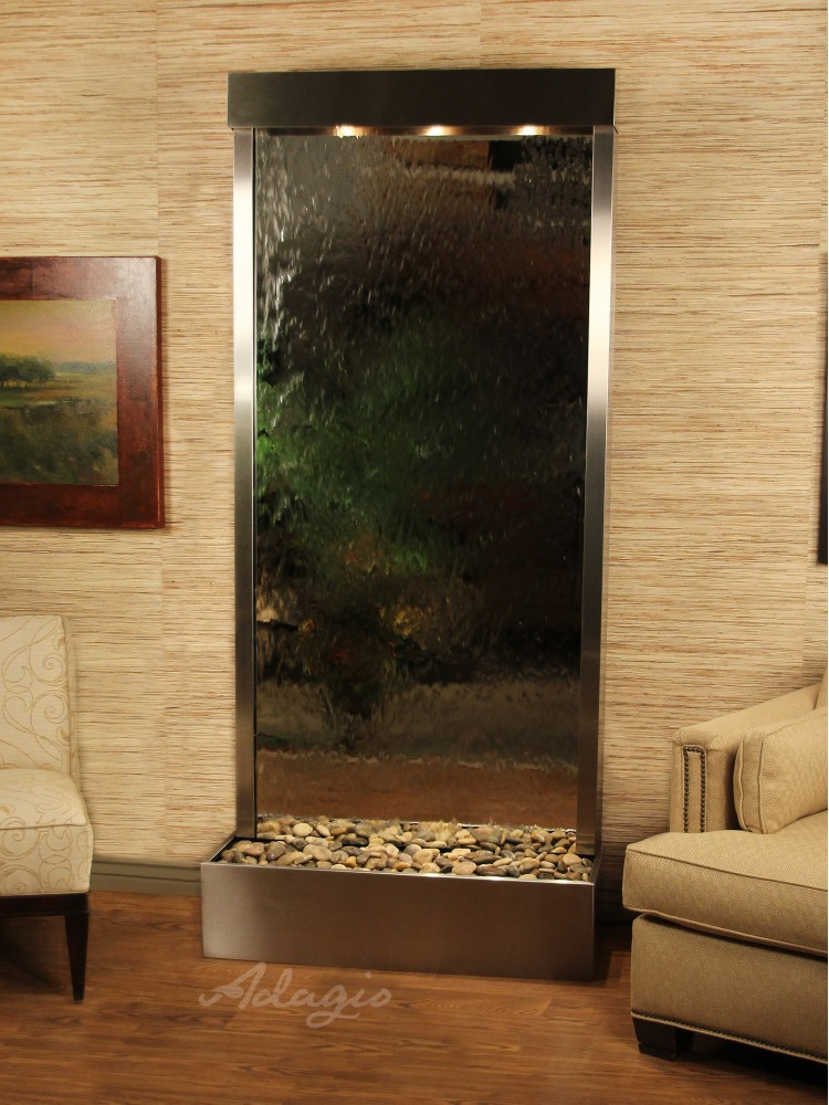 Tranquil River, Flush Mounted, Stainless Steel, Silver Mirror