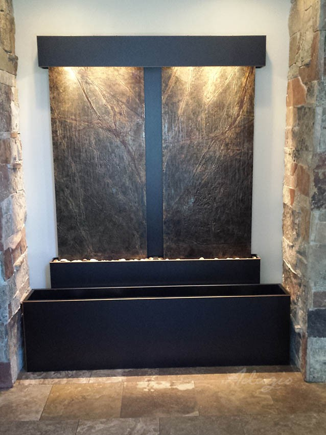 Custom 2-panel recessed water feature