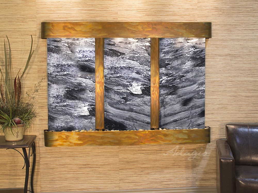 Olympus  Falls - Black Spider Marble - Rustic Copper - Rounded - White
