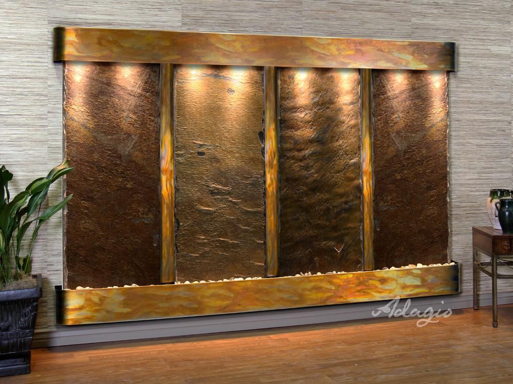 Regal Falls - Multi-Color Slate - Rustic Copper - Rounded - White