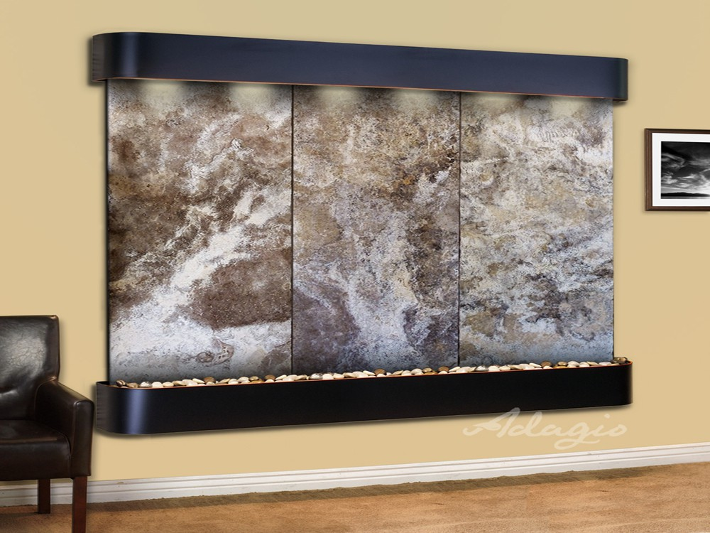 Solitude River - Magnifico Travertine - Blackened Copper - Rounded - White