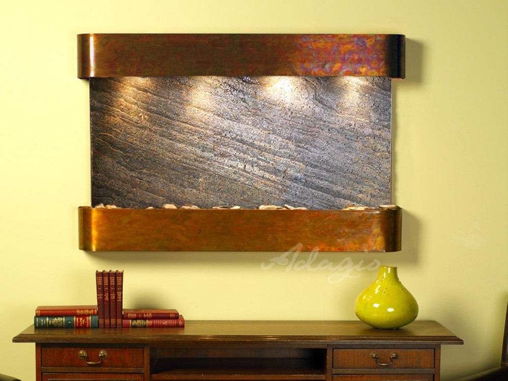Sunrise Springs - Green FeatherStone - Rustic Copper - Rounded - White