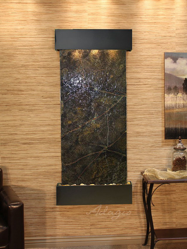 Inspiration Falls, Square, Blackened Copper, Rainforest Green Marble