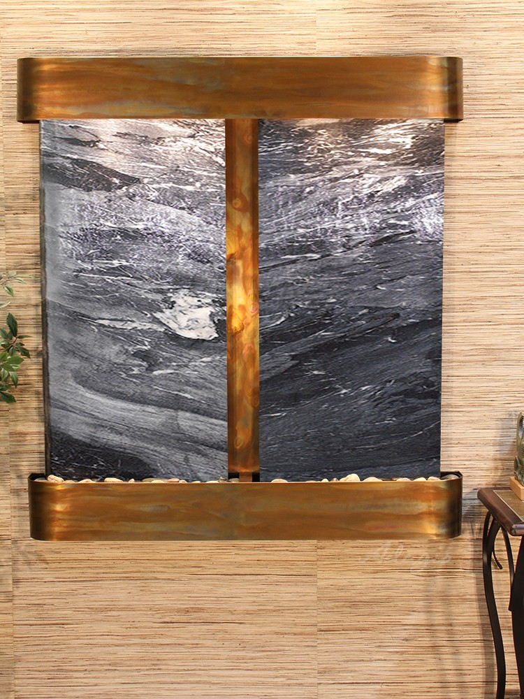 Aspen Falls - Black Spider Marble - Rustic Copper - Rounded - White