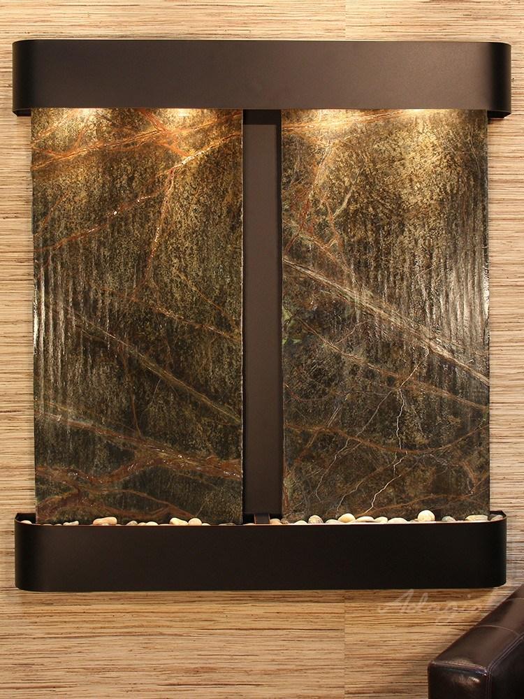 Aspen Falls - Rainforest Green Marble - Blackened Copper - Rounded