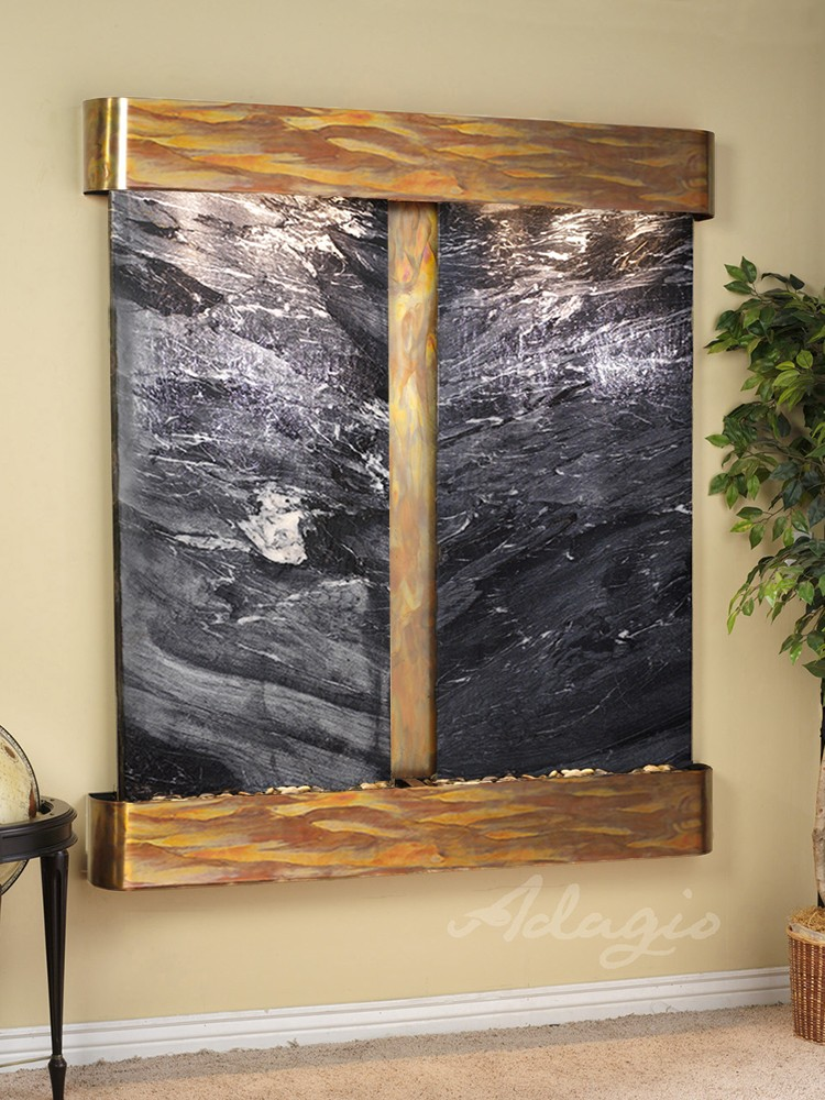 Cottonwood Falls - Black Spider Marble - Rustic Copper - Rounded