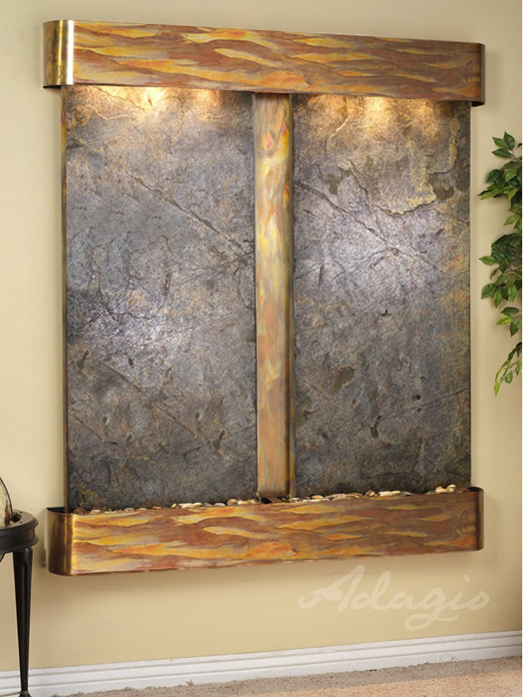 Cottonwood Falls - Green FeatherStone - Rustic Copper - Rounded - White