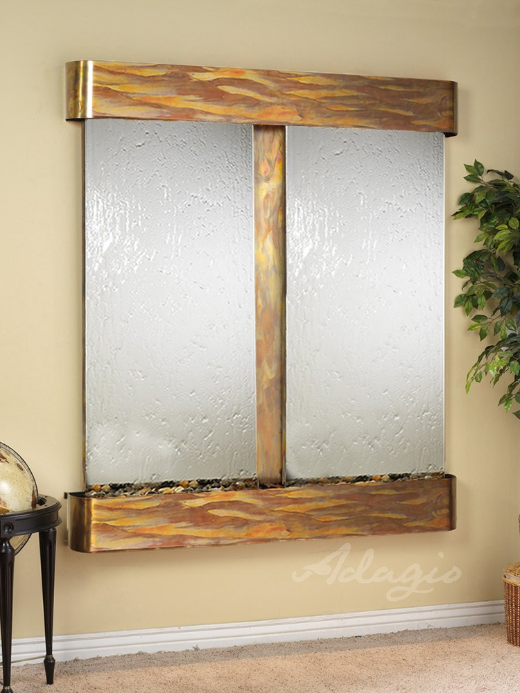 Cottonwood Falls - Silver Mirror - Rustic Copper - Rounded - White