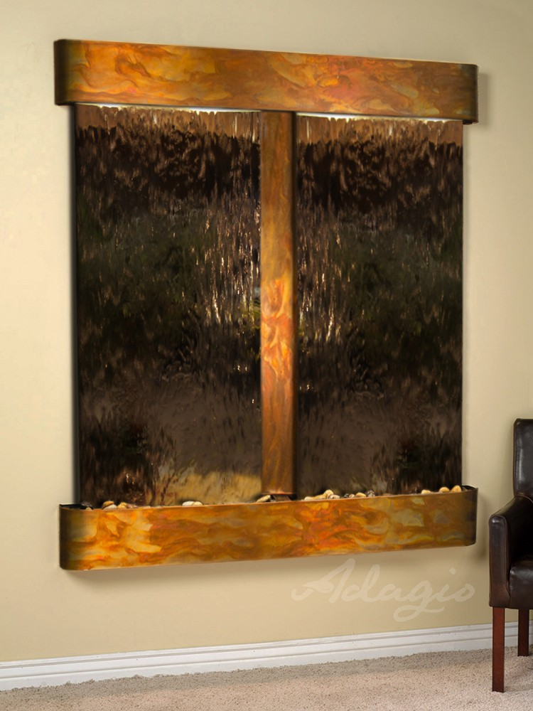 Cottonwood Falls - Bronze Mirror - Rustic Copper - Rounded - White