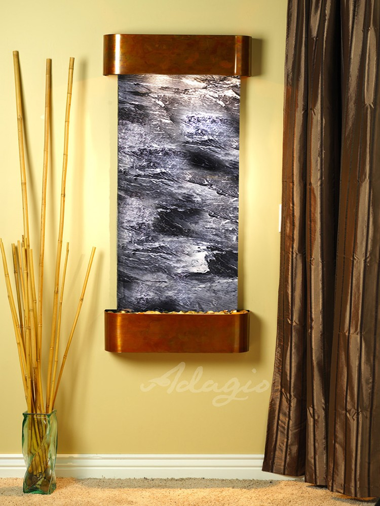 Cascade Springs - Black Spider Marble - Rustic Copper - Rounded - White