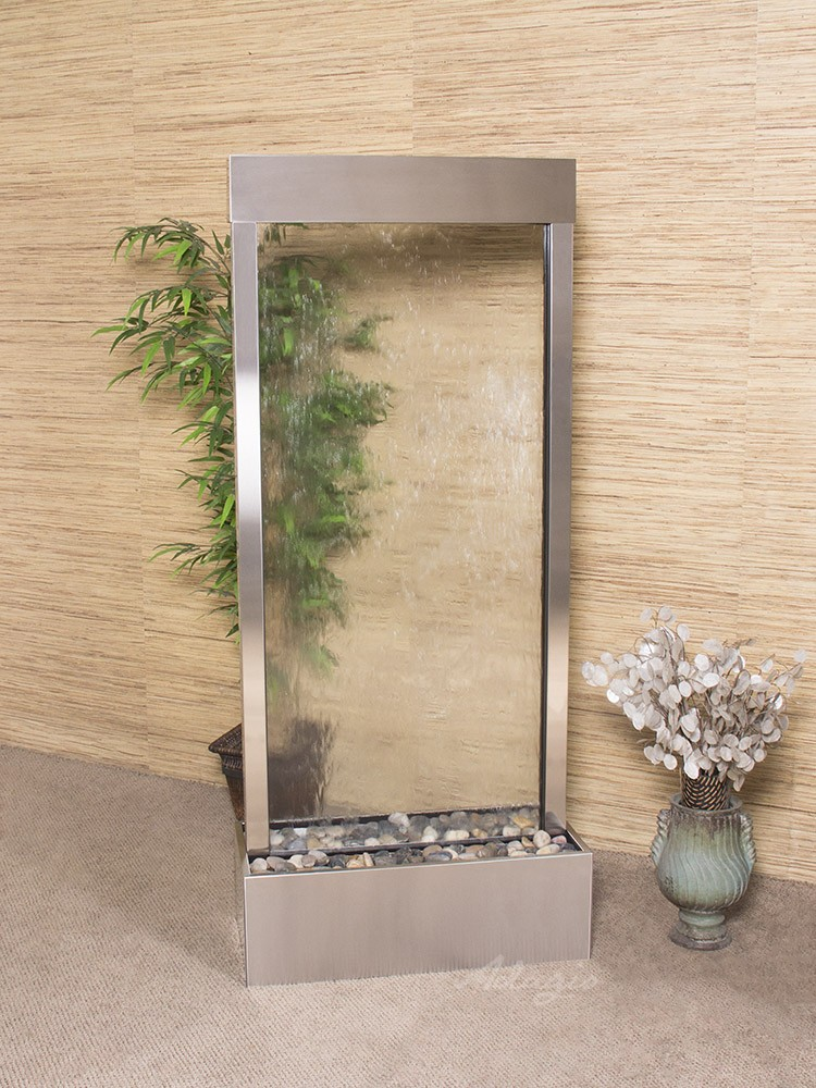 Harmony River (Centered In Base) - Clear Glass - Stainless Steel