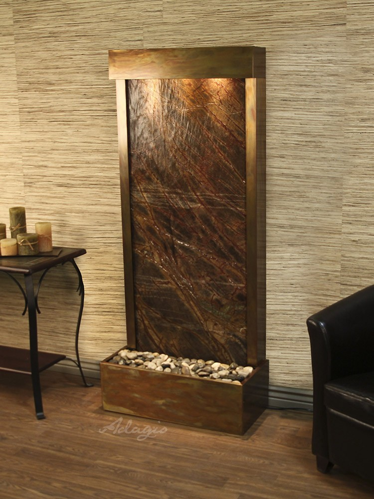 Harmony River (Flush Mounted Towards Rear Of The Base) - Rainforest Brown Marble - Rustic Copper