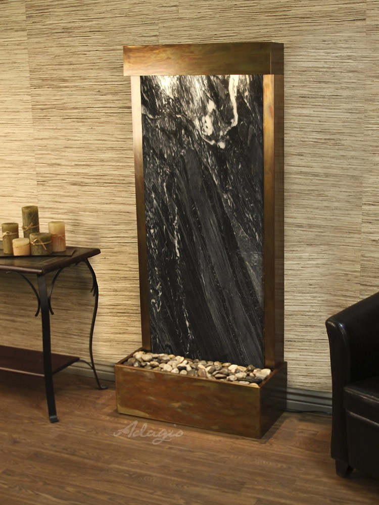 Harmony River (Flush Mounted Towards Rear Of The Base) - Black Spider Marble - Rustic Copper