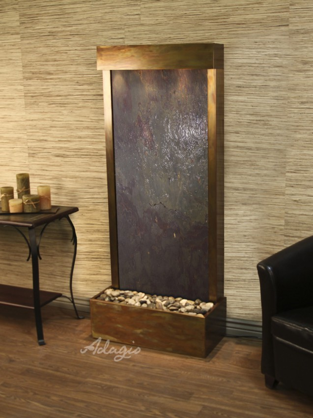 Harmony River (Flush Mounted Towards Rear Of The Base) - Multi-Color FeatherStone - Rustic Copper - White