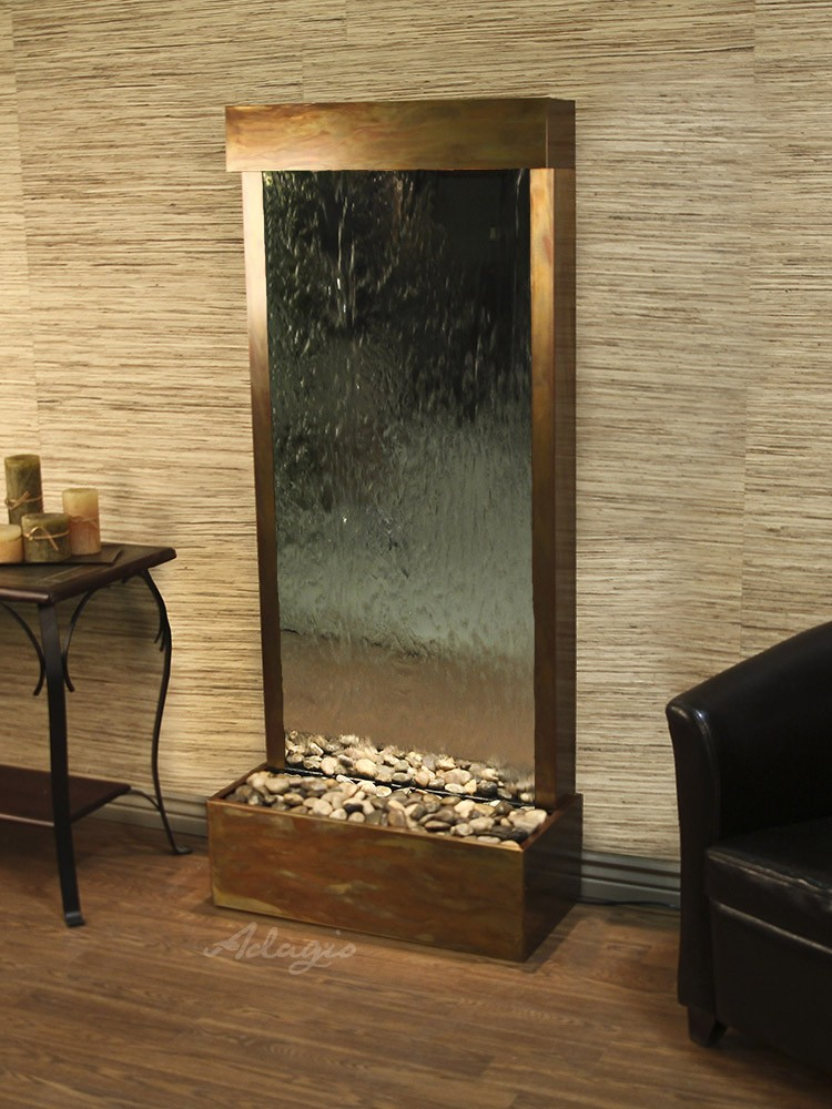 Harmony River (Flush Mounted Towards Rear Of The Base) - Silver Mirror - Rustic Copper - White