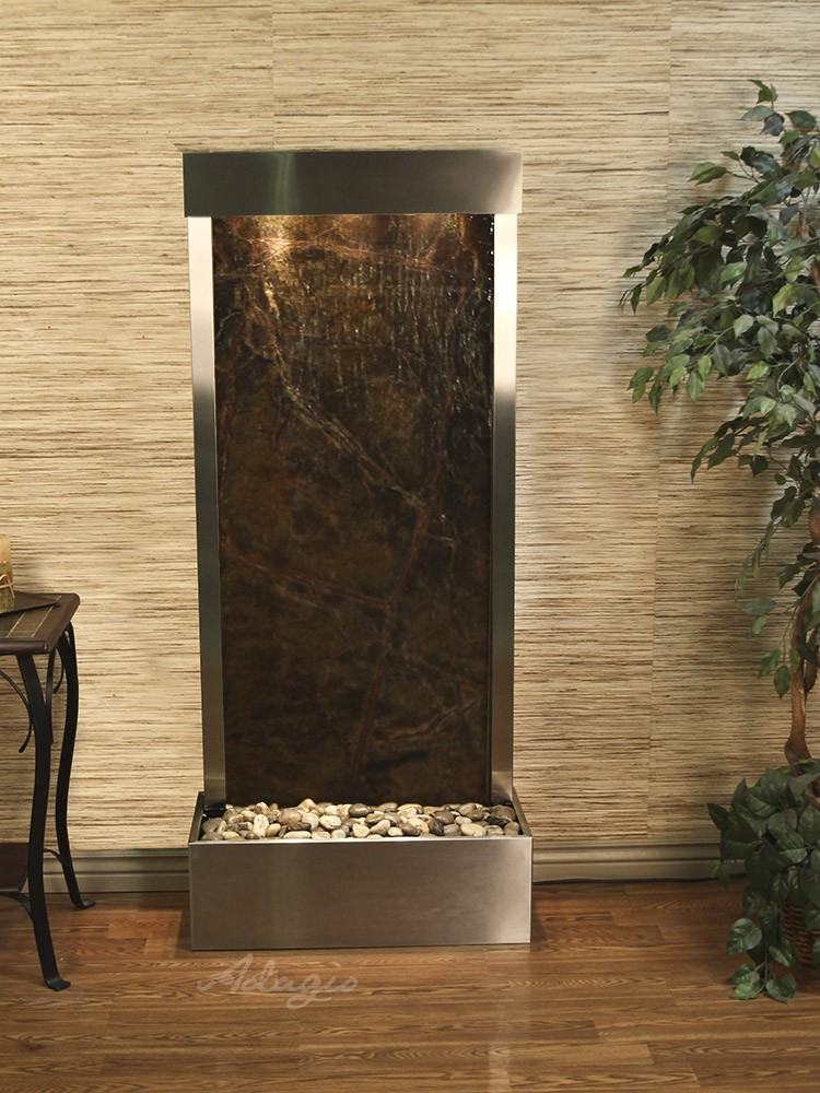 Harmony River (Flush Mounted Towards Rear Of The Base) - Rainforest Green Marble - Stainless Steel