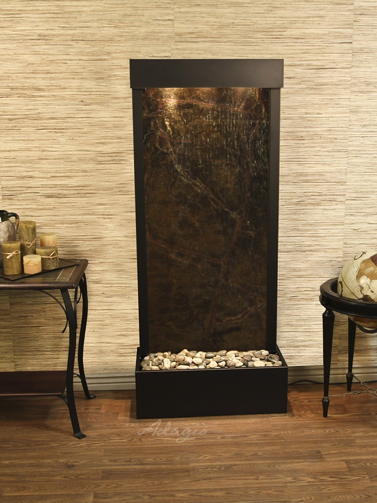 Harmony River (Flush Mounted Towards Rear Of The Base) - Rainforest Green Marble - Antique Bronze