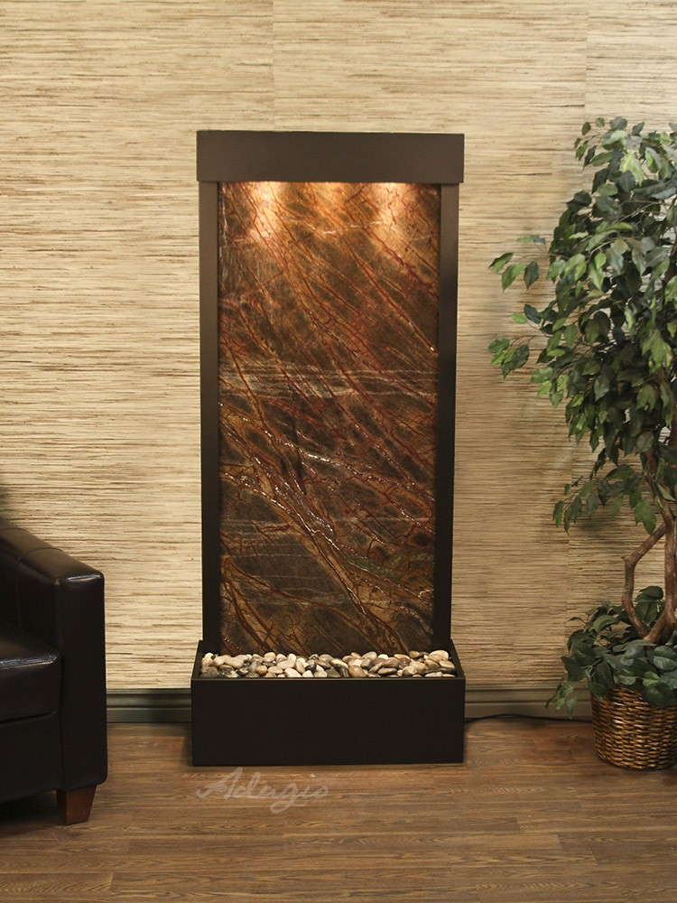 Harmony River, Flush Mounted, Antique Bronze, Rainforest Brown Marble