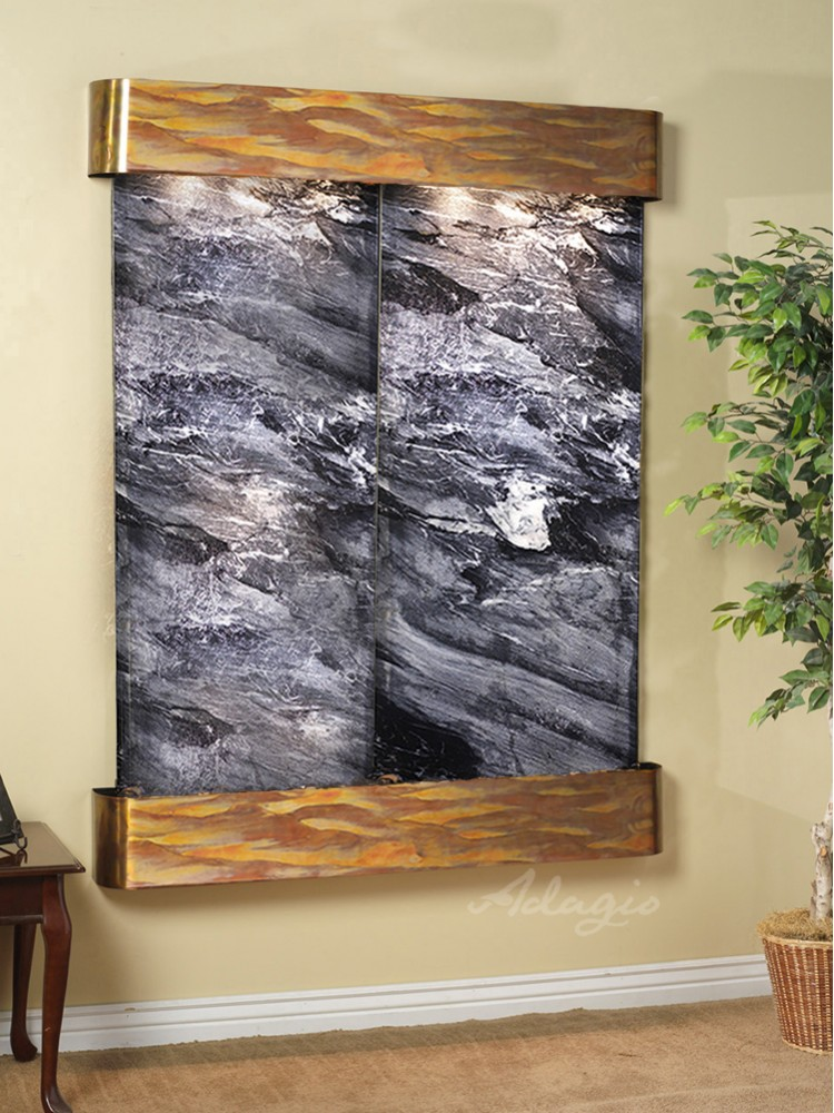 Majestic River - Black Spider Marble - Rustic Copper - Rounded