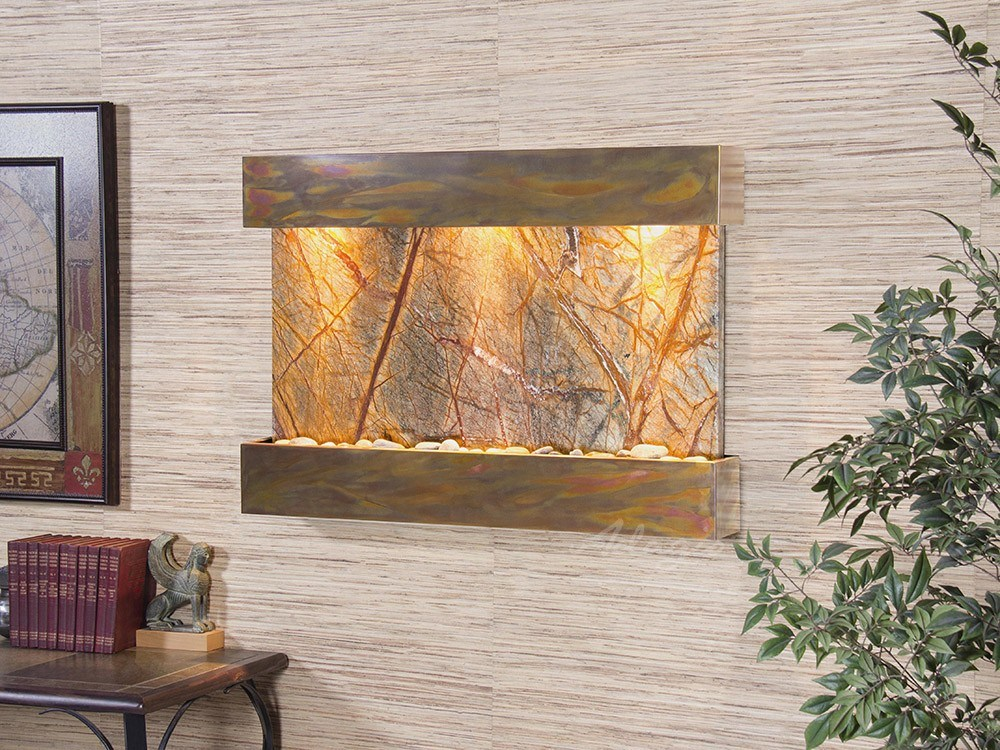 Reflection Creek - Rainforest Brown Marble - Rustic Copper - White