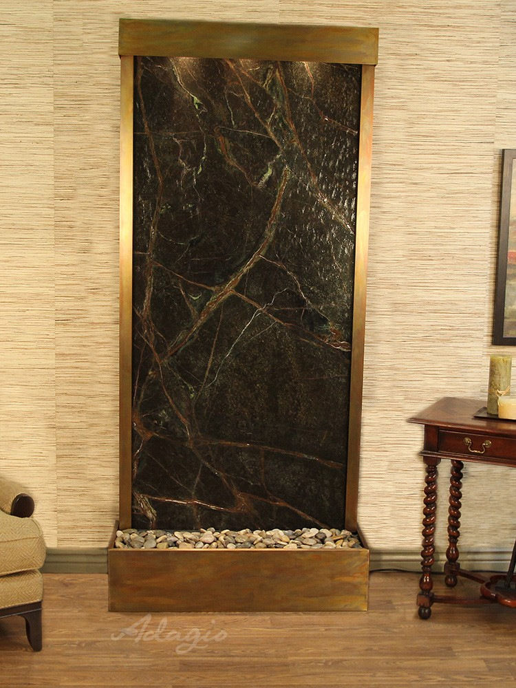 Tranquil River (Flush Mounted Towards Rear Of The Base) - Rainforest Green Marble - Rustic Copper