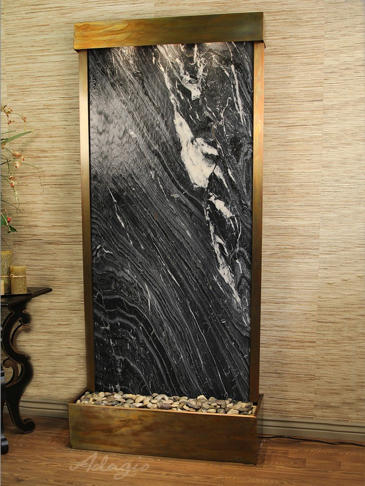 Tranquil River (Flush Mounted Towards Rear Of The Base) - Black Spider Marble - Rustic Copper