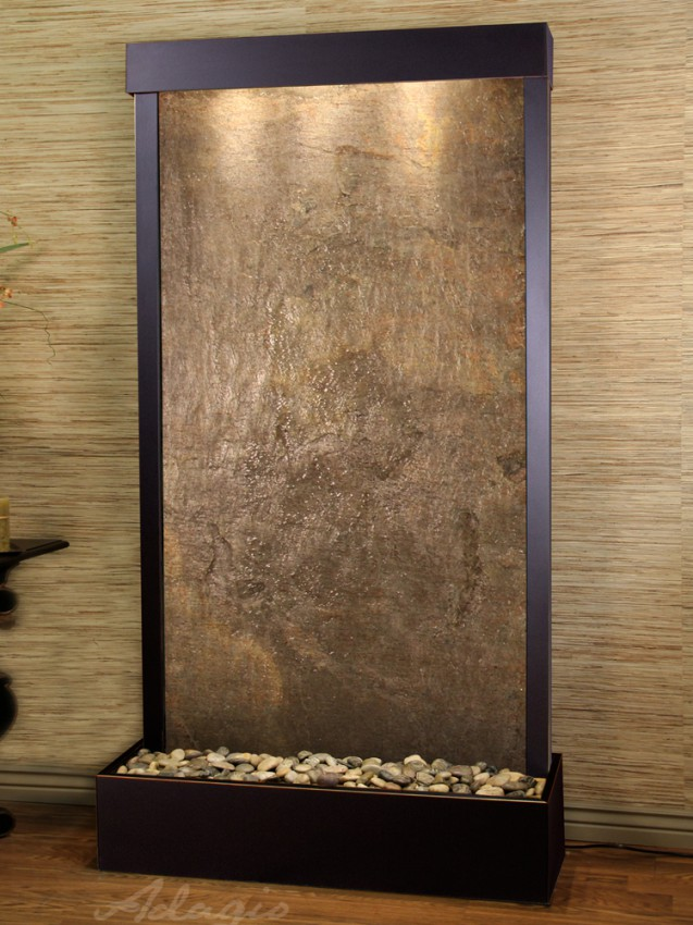 Tranquil River (Flush Mounted Towards Rear Of The Base) - Green FeatherStone - Blackened Copper - White
